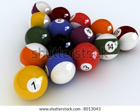 close-up billiard balls.  isolated over white View other images from this series in my portfolio: - stock photo
