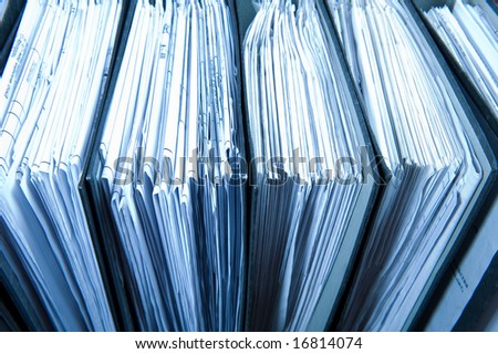 Close up binders In archive. Business concept - stock photo