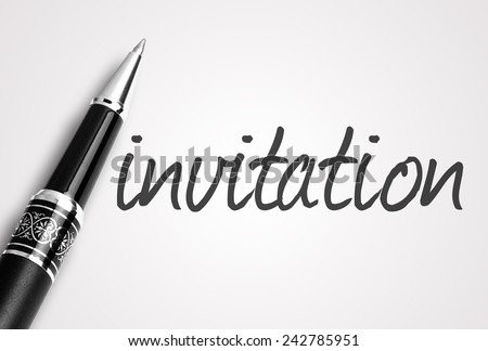 Close up black pen writes invitation on paper - stock photo