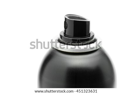 close-up black spray head of hair spray can isolated on white background