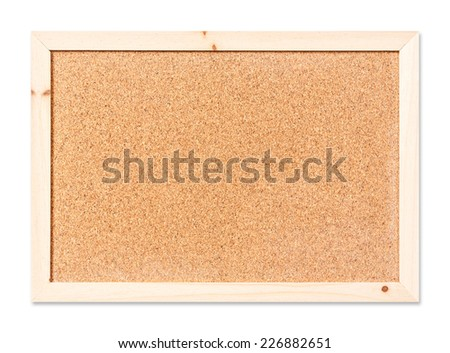 Close up blank corkboard isolated on white with path - stock photo