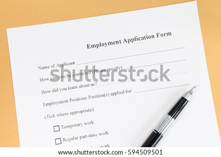 Close Blank Employment Application Paper Form Stock Photo