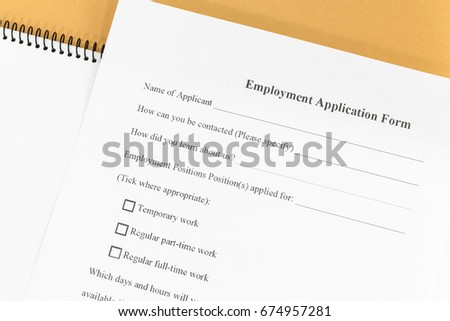 close blank employment application paper form stock photo royalty