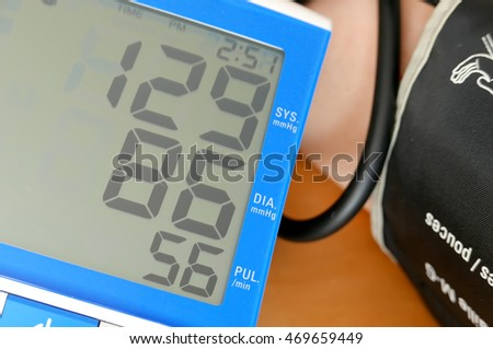 Close up blood pressure displayed on monitor