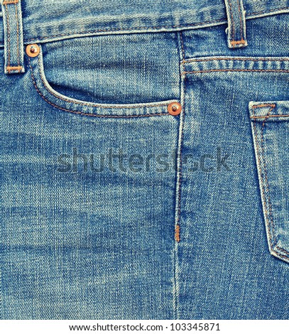 Close-up blue denim with pocket - stock photo