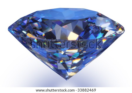 Close-up blue diamond with soft shadow on white. - stock photo