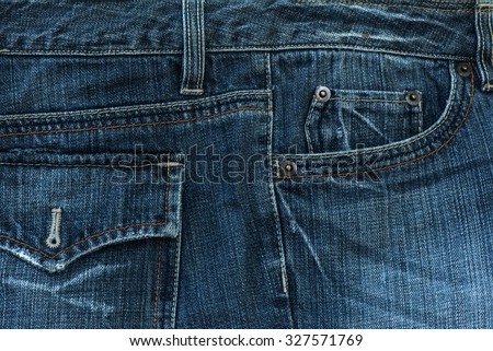 Close-up Blue jeans fabric - stock photo