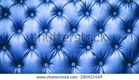 close up blue Leather texture Background - stock photo