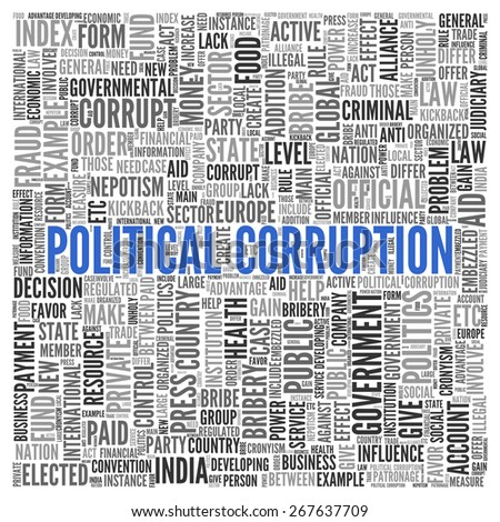 Close up Blue POLITICAL CORRUPTION Text at the Center of Word Tag Cloud on White Background. - stock photo