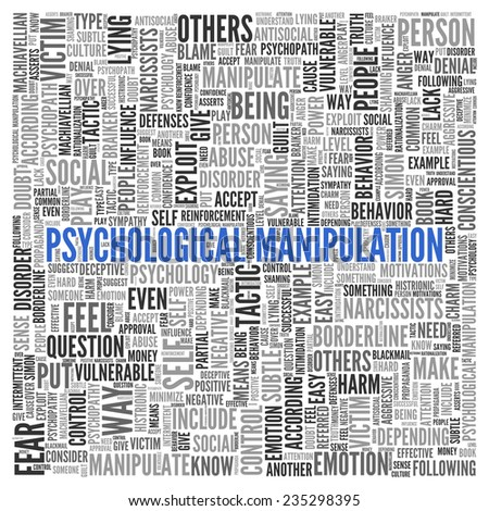 Close up Blue PSYCHOLOGICAL MANIPULATION Text at the Center of Word Tag Cloud on White Background.