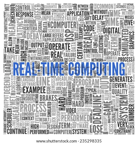 Close up Blue REAL-TIME COMPUTING Text at the Center of Word Tag Cloud on White Background. - stock photo