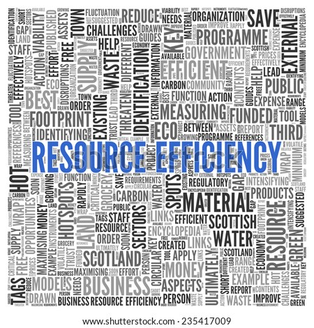 Close up Blue RESOURCE EFFICIENCY Text at the Center of Word Tag Cloud on White Background.