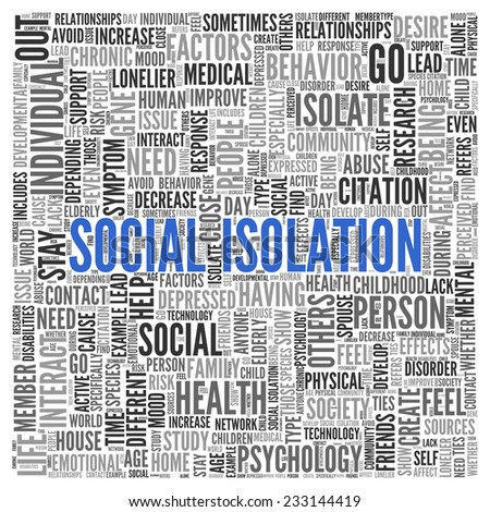 Close up Blue SOCIAL ISOLATION Text at the Center of Word Tag Cloud on White Background. - stock photo