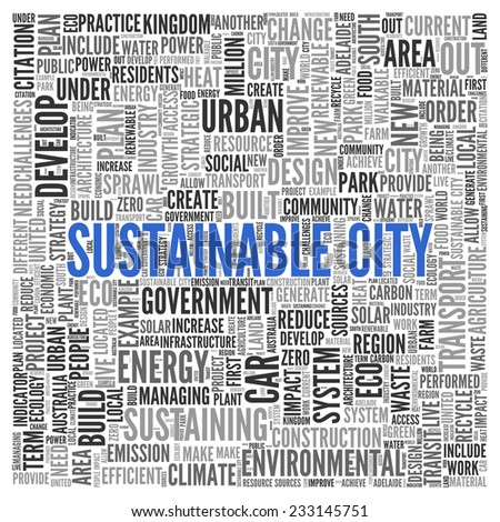 Close up Blue SUSTAINABLE CITY Text at the Center of Word Tag Cloud on White Background. - stock photo