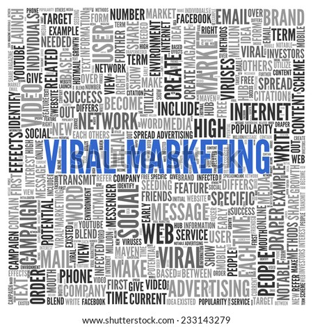 Close up Blue VIRAL MARKETING Text at the Center of Word Tag Cloud on White Background. - stock photo