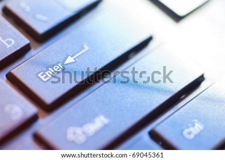 close up blurred view of male hand touching computer keyboard