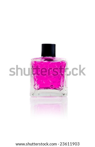 close-up bottle of perfume isolated on white