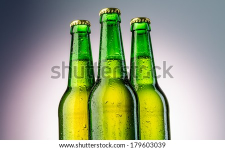 Close up bottles of beer