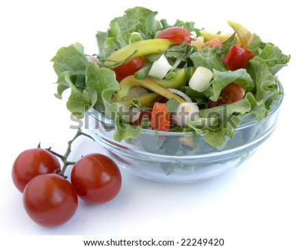 close up bowl with  fresh seasoning salad on white background with clipping path