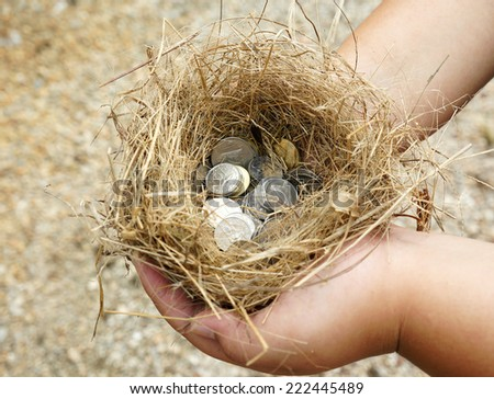 Close up boy hand hold nest with coins inside - stock photo