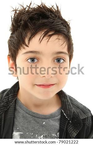 Close Up Boy with Hazel Eyes and Slight Smile Expression - stock photo