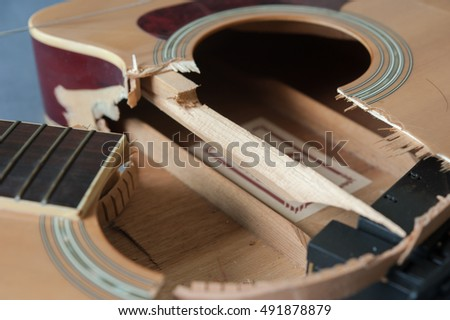 close up broken  guitar (selective focus)