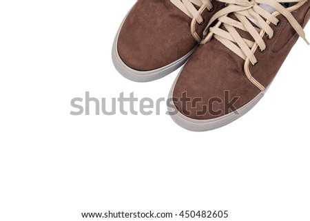 Close up brown shoes isolated on white background with copy space. - stock photo