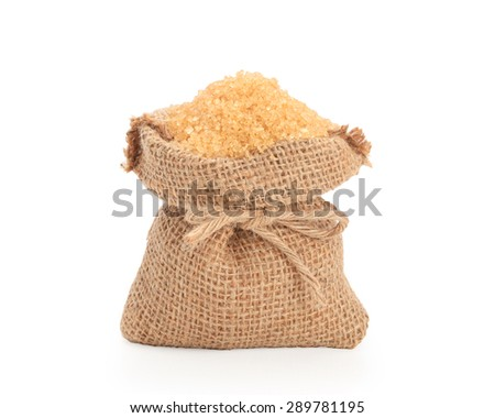 Close up brown Sugar  isolated on white background with clipping path.