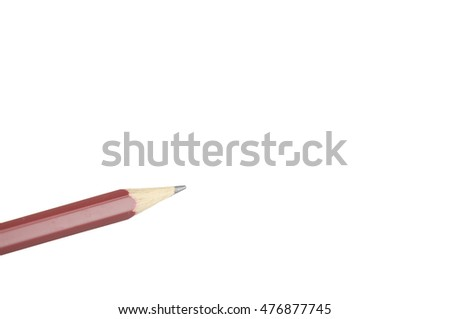 Close up brown wooden pencil place on bottom left isolated with white background.