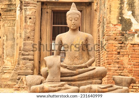 Close up Buddha image  statue at temple - stock photo