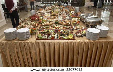 close up buffet table arrangement catering - stock photo