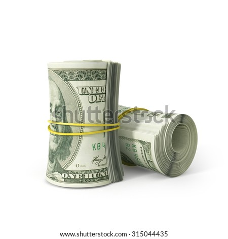Close up Bunch of 100 US Dollar Paper Bill Rolled with Rubber, Isolated on White Background. - stock photo