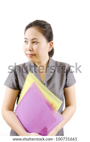 Close up business lady with her file for work isolated.