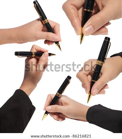 Close up business woman writing with pen ,isolated on white background with clipping path - stock photo