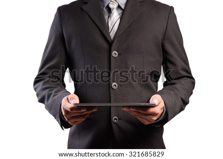 close up businessman man hand using tablet on white background