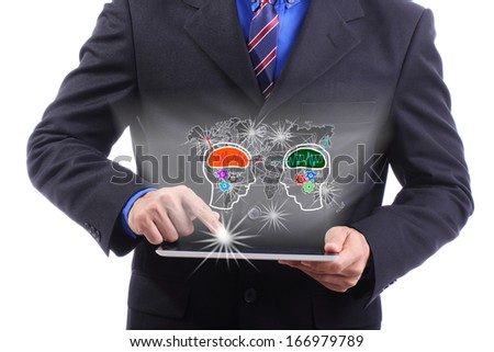 Close up businessman use touch pad for good connection - stock photo