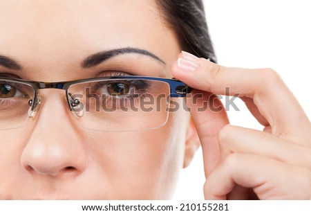 Close up businesswoman face, wear eye glasses, young business woman isolated over white background - stock photo