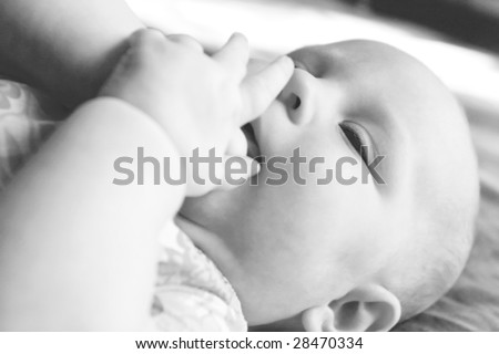 close up bw baby portrait - stock photo