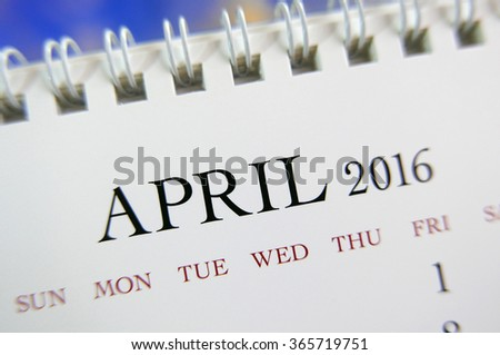 Close up calendar of April 2016 - stock photo
