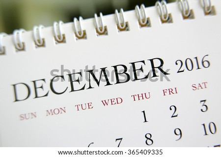 Close up calendar of December 2016 - stock photo