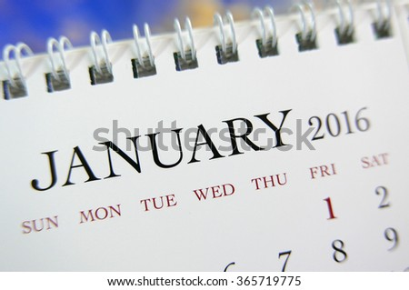 Close up calendar of January 2016 - stock photo