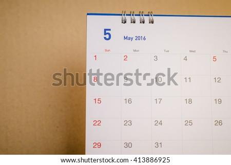 Close up  calendar page MAY 2016 - stock photo