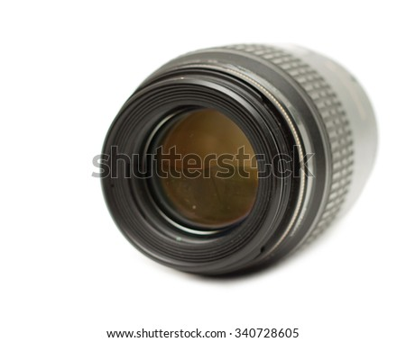 close-up camera lens on a white background - stock photo