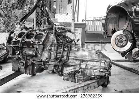 Close up car engine and brake repair,Auto maintenance - stock photo