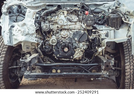 Close up Car engine part which accident - stock photo