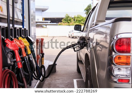 Close up car refuel - stock photo
