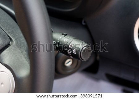 close up car wiper control swicth