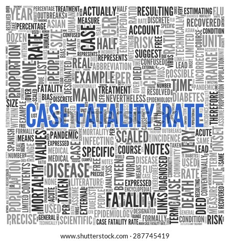 Close up CASE FATALITY RATE Text at the Center of Word Tag Cloud on White Background.