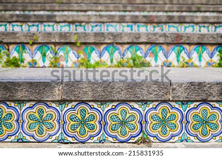 close-up ceramic tiles on the staircase Santa Maria del Monte at Caltagirone, Sicily - stock photo