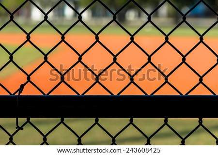 Close Up Chain Link Fence at Baseball Field - stock photo